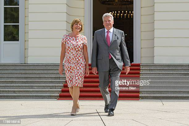 German President Joachim Gauck and First Lady Daniela Schadt arrive at the annual Citizens' Fest at Bellevue Palace on August 31, 2013 in Berlin,...