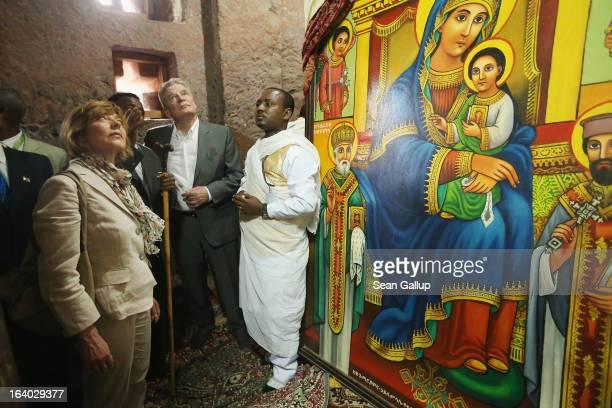 German President Joachim Gauck and First Lady Daniela Schadt tour St. Mary's Ethiopian Othodox Church on March 19, 2013 in Lalibela, Ethiopia....
