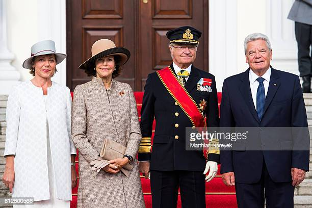 German President Joachim Gauck and German First Lady Daniela Schadt greet Queen Silvia of Sweden and King Carl XVI Gustaf of Sweden upon their...
