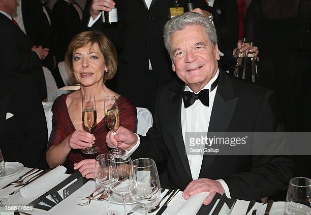 German President Joachim Gauck and his partner Daniela Schadt attend the 2012 Bundespresseball at the Intercontinental Hotel on November 23 2012 in...