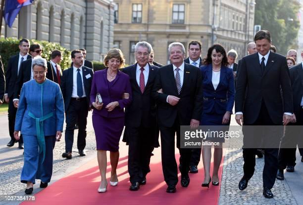 German President Joachim Gauck and his partner Daniela Schadt Slovenian President Borut Pahor and his wife Tanja Pecar as well as Austrian President...