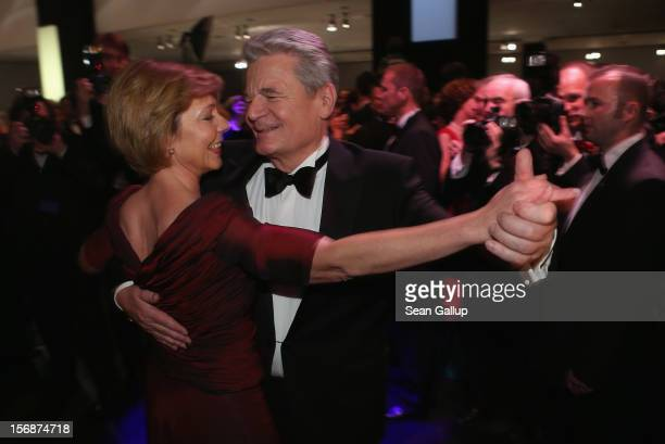 German President Joachim Gauck and his partner Daniela Schadt dance the opening waltz at the 2012 Bundespresseball at the Intercontinental Hotel on...