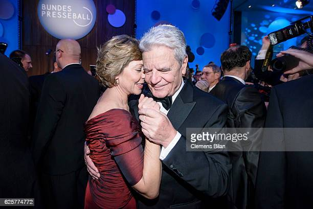 German President Joachim Gauck and his partner Daniela Schadt dance the opening dance at the 65th Bundespresseball at Hotel Adlon on November 25 2016...