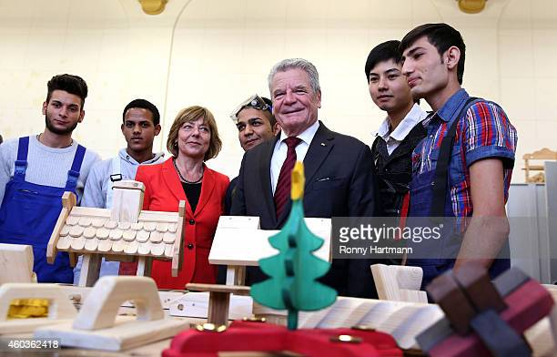 German President Joachim Gauck and his partner Daniela Schadt meets with the young refugees Aleksandar , Merkawi , Jose Manuel , Luan and Amin at a...