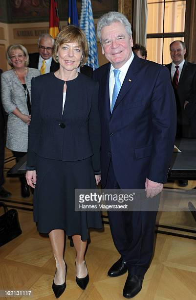 German President Joachim Gauck and his partner Daniela Schadt pose during his inaugural official visit to Bavaria at the Bavarian state parliament on...