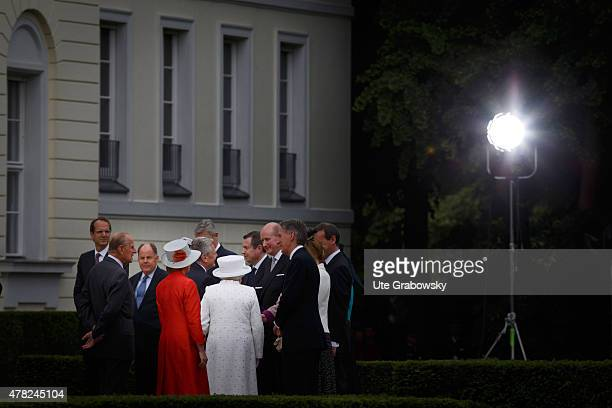 German President Joachim Gauck and his partner Daniela Schadt welcome Queen Elizabeth II Prince Philip Duke of Edinburgh and their delegates at...