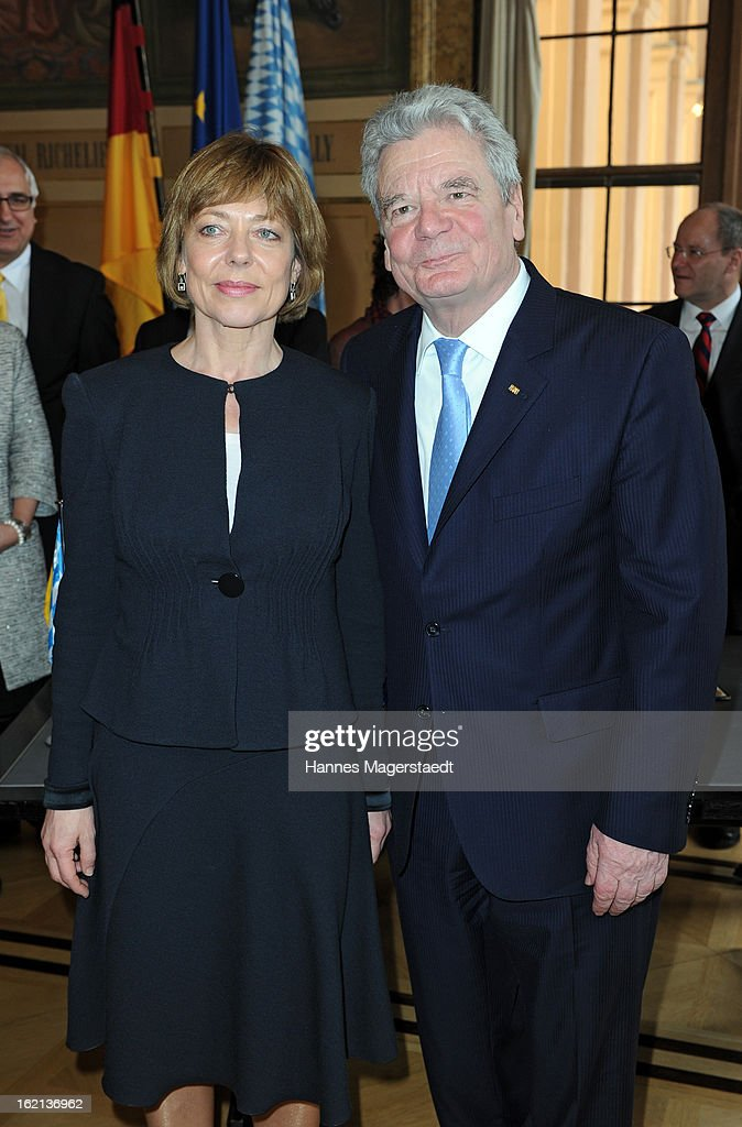 German President Joachim Gauck and partner Daniela Schadt (L) pose during his inaugural official visit to Bavaria at the Bavarian state parliament on February 19, 2013 in Munich, Germany. Following his visit to the Bavarian State Chancellery President Gauck's schedule includes visits to the German Aerospace Center in Oberpfaffenhofen and a panel discussion with students at the university of Regensburg.
