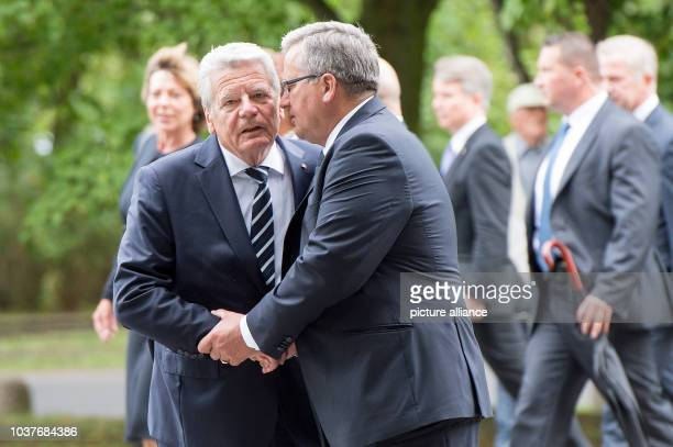 German President Joachim Gauck and Polish President Bronisaw Komorowski attend the commemoration of the start of World War II 75 years ago at...