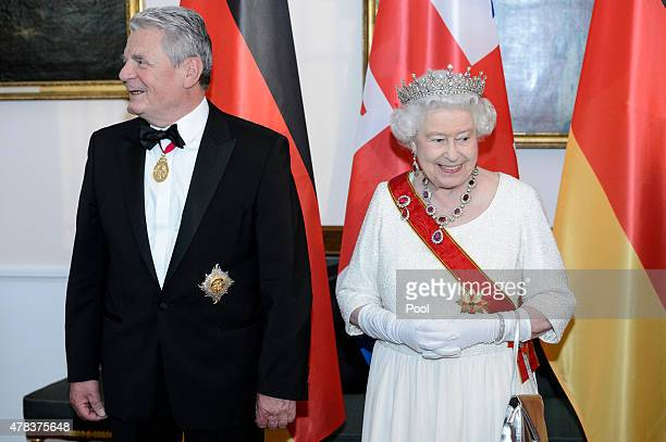 German President Joachim Gauck and Queen Elizabeth II attend a State Banquet on day 2 of a four day State Visit on June 24 2015 in Berlin Germany