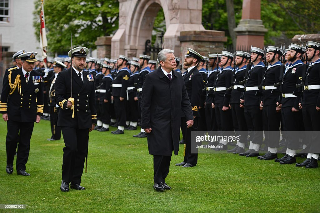 German President Joachim Gauck attends the 100th anniversary commemorations for the Battle of Jutland at St Magnus Cathedral on May 31, 2016 in Kirkwall, Scotland. The event marks the centenary of the largest naval battle of World War One where more than 6,000 Britons and 2,500 Germans died in the Battle of Jutland fought near the coast of Denmark on 31 May and 1 June 1916.