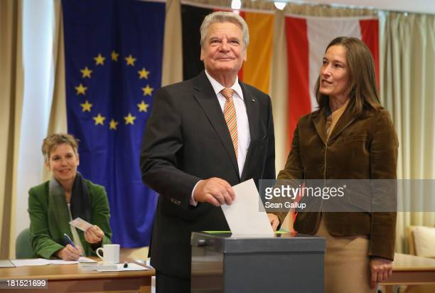 German President Joachim Gauck casts his ballot in German federal elections on September 22, 2013 in Berlin, Germany. Germany is holding federal...