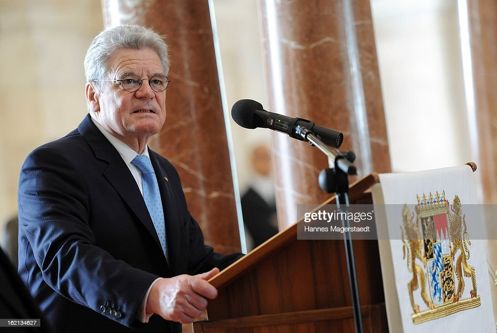 German President Joachim Gauck delivers a speech at the Bavarian state parliament during his inaugural official visit to Bavaria on February 19, 2013 in Munich, Germany. Following his visit to the Bavarian State Chancellery President Gauck's schedule includes visits to the German Aerospace Center in Oberpfaffenhofen and a panel discussion with students at the university of Regensburg.