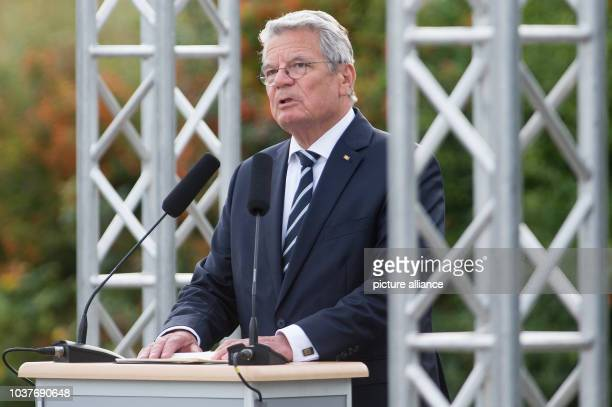 German President Joachim Gauck delivers a speech during a commemoration of the start of World War II 75 years ago at Westerplatte in Gdansk Poland 01...