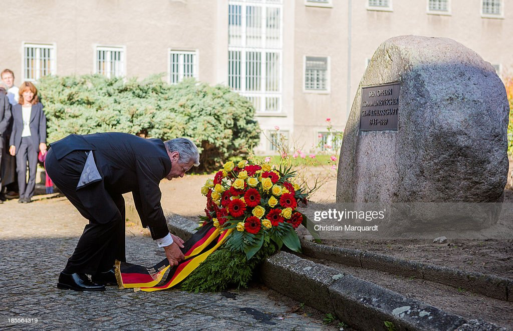 German President Joachim Gauck during a wreath laying on October 22, 2013 in Berlin, Germany. 'Hohenschoenhausen' was the remand prison for people detained by the former East German Ministry for State Security (MfS) or 'Stasi' and has been a Memoral since 1994.