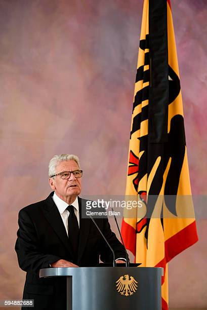 German President Joachim Gauck gives a statement following the death of the Former President of West Germany Walter Scheel at Bellevue presidential...