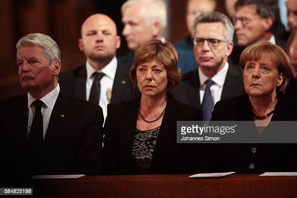 German President Joachim Gauck his wife Daniela Schadt and German chancellor Angela Merkel attend a memorial service for the victims of last week's...