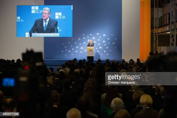 German President Joachim Gauck holds a speech during the German Federal Employers Association day on November 19 2013 in Berlin Germany Established...