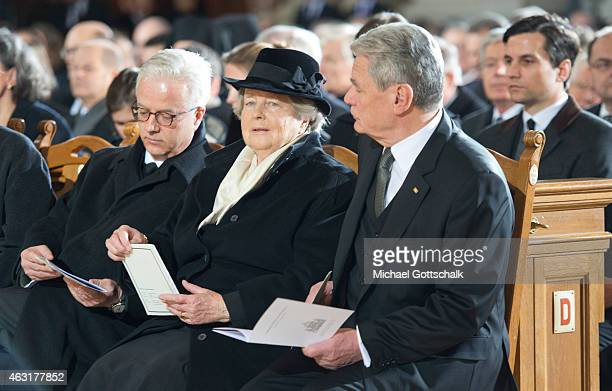 German President Joachim Gauck Marianne von Weizsaecker and Fritz von Weizsaecker attend the memorial service for the late former German President...