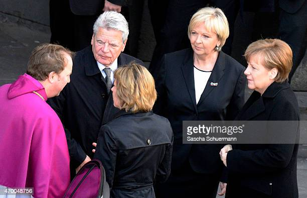 German President Joachim Gauck , North Rhine-Westphalia Governor Hannelore Kraft and German Chancellor Angela Merkel, ahead of a memorial service to...