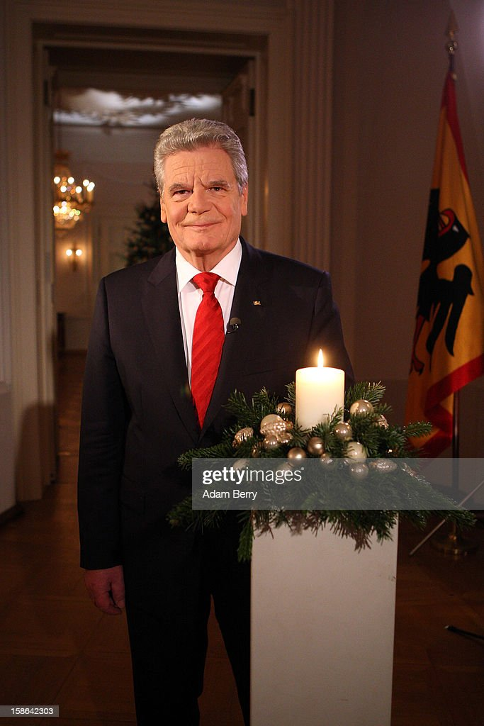 German President Joachim Gauck poses after delivering his Christmas address in Bellevue Presidential Palace on December 22, 2012 in Berlin, Germany.