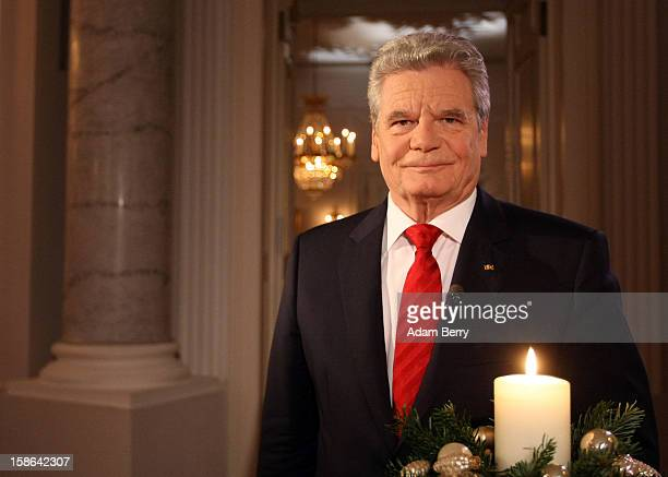 German President Joachim Gauck poses after delivering his Christmas address in Bellevue Presidential Palace on December 22 2012 in Berlin Germany