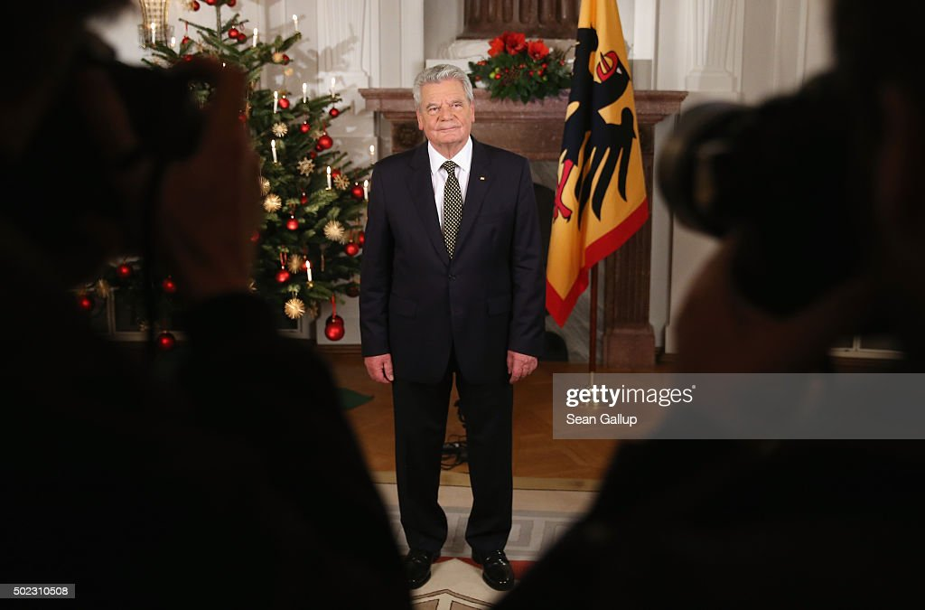 German President Joachim Gauck poses for a photo after he recorded his annual Christmas television address to the nation on December 22, 2015 in Berlin, Germany. Gauck, a former pastor, usually highlights the events and challenges of the year in his annual address broadcast on December 24th but also looks to what Germany will face in the coming year. Germany will have accepted over one million asylum applicants in 2015 and coping with their influx will likely be Germany's biggest challenge in 2016.