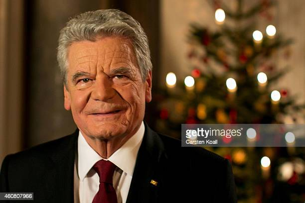 German President Joachim Gauck poses for a photograph after the recording of his annual Christmas television address to the nation at Schloss...