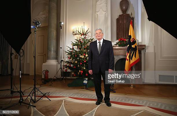 German President Joachim Gauck prepares to pose for a photo after he recorded his annual Christmas television address to the nation on December 22...
