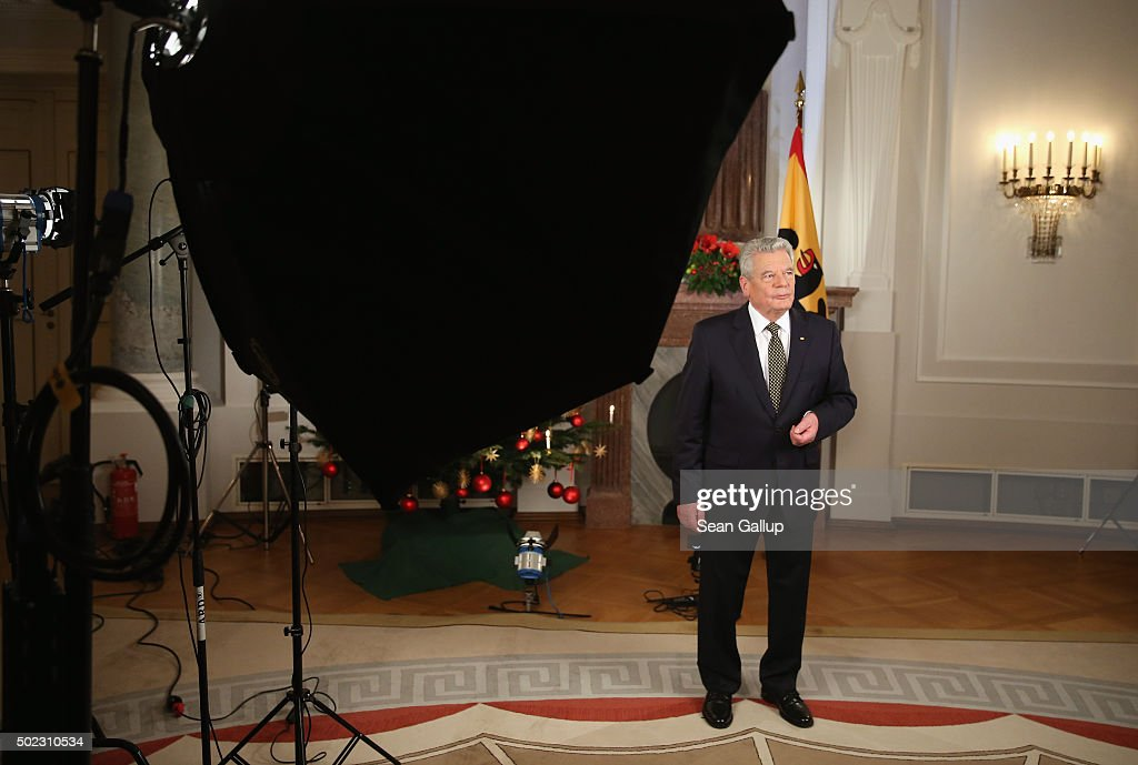 German President Joachim Gauck prepares to pose for a photo after he recorded his annual Christmas television address to the nation on December 22, 2015 in Berlin, Germany. Gauck, a former pastor, usually highlights the events and challenges of the year in his annual address broadcast on December 24th but also looks to what Germany will face in the coming year. Germany will have accepted over one million asylum applicants in 2015 and coping with their influx will likely be Germany's biggest challenge in 2016.