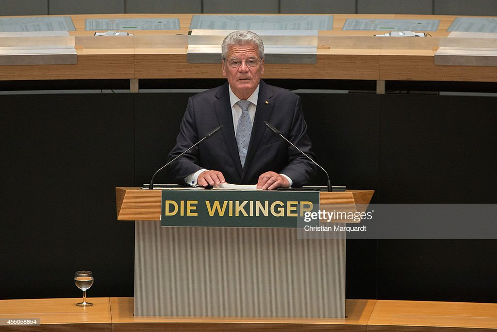 German President Joachim Gauck speaks ahead of 'Die Wikinger' exhibition opening at Martin-Gropius-Bau on September 9, 2014 in Berlin, Germany. (Photo by Christian Marquardt/WireImage)> on September 9, 2014 in Berlin, Germany.