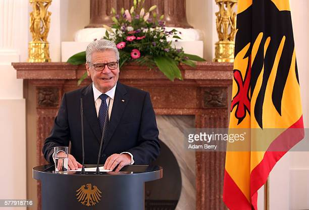German President Joachim Gauck speaks at a German Federal Constitutional Court judge confirmation ceremony at Bellevue presidential palace on July...