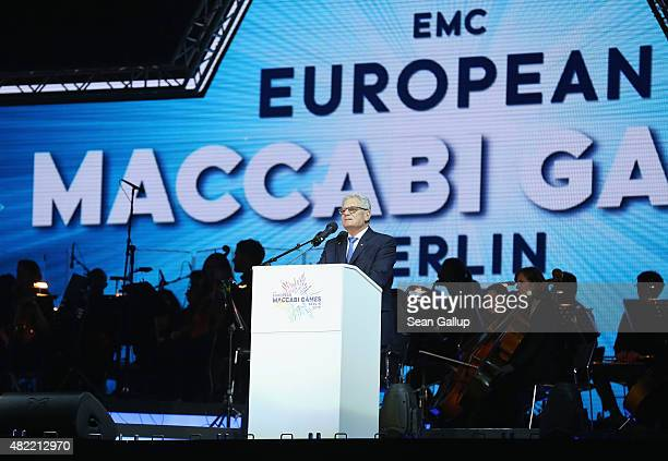 German President Joachim Gauck speaks at the official opening ceremony of the European Maccabi Games at the Waldbuehne on July 28 2015 in Berlin...