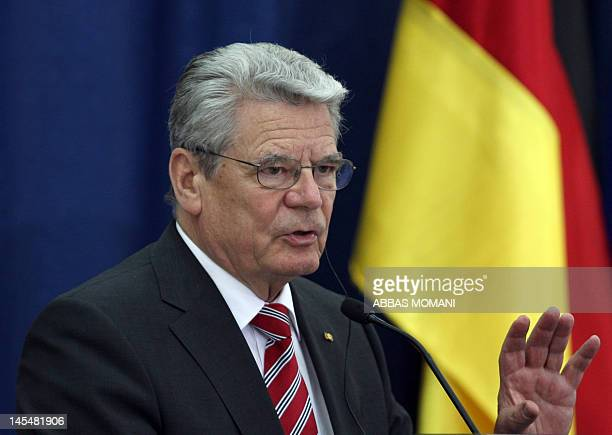 German President Joachim Gauck speaks during a joint press conference with his Palestinian counterpart Mahmud Abbas following a meeting in the West...