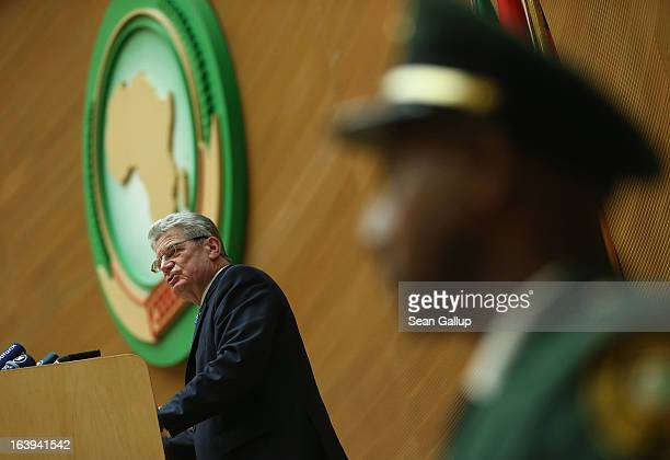 German President Joachim Gauck speaks to delegates of the African Union on the occasion of the upcoming 50th anniversary of the Organization of...