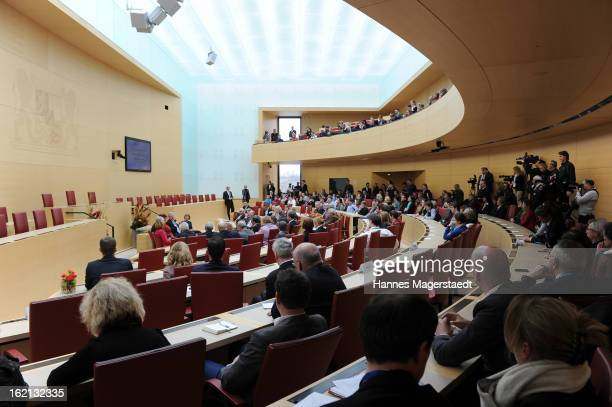 German President Joachim Gauck speaks to the Bavarian state parliament during his inaugural state visit on February 19 2013 in Munich Germany...