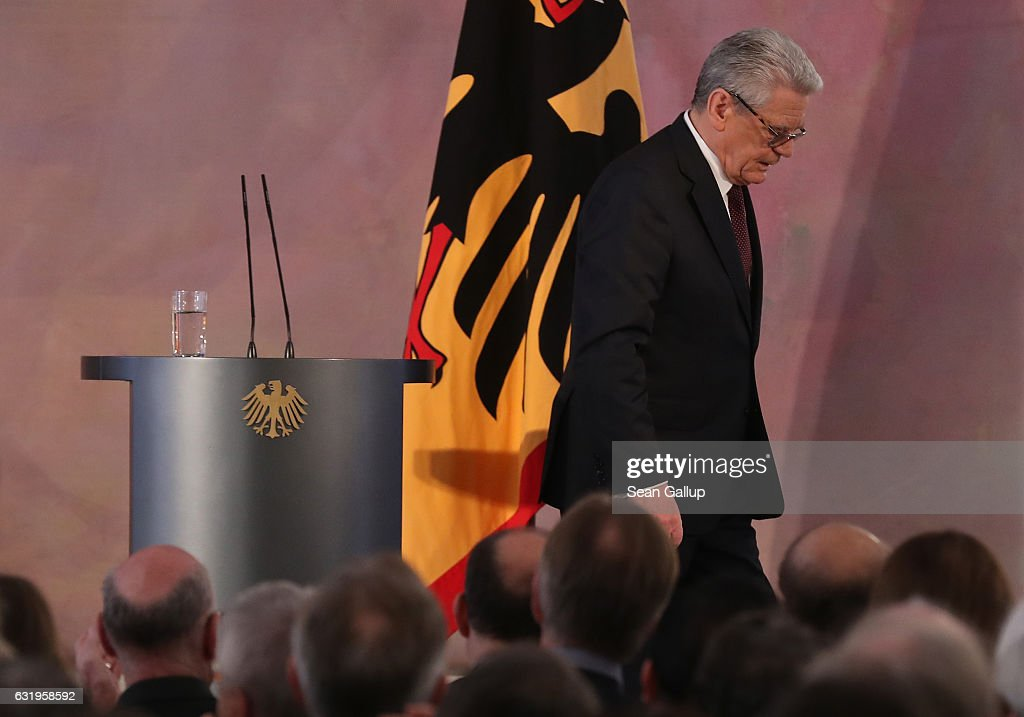 German President Joachim Gauck steps down from the podium aftergiving a speech to mark the end of his term as president at Schloss Bellevue palace on January 18, 2017 in Berlin, Germany. Gauck, a former pastor, chose not to serve a second term. The Federal Assembly will elect his successor on February 12.