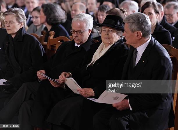 German President Joachim Gauck the widow of the former German President Richard von Weizsaecker Marianne von Weizsaecker her son Fritz von...