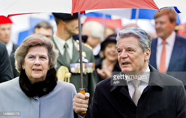German president Joachim Gauck walks with Dutch politician Joan LeemhuisStout member of the People's Party for Freedom and Democracy from the church...
