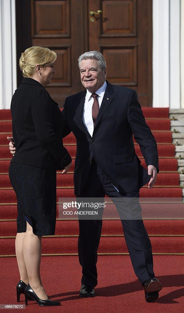 German President Joachim Gauck welcomes Croatian President