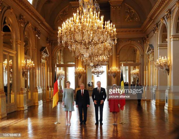 German President JoachimGauck and his partner Daniela Schadt are received by King Philippe and Queen Mathilde of Belgium inBrussels Belgium 08...