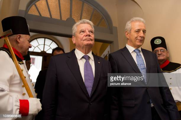 German President JoachimGauck and Stanislaw Tillich , premier of the German state Saxony, arrive to a ceremonial act marking the 250th anniverary of...