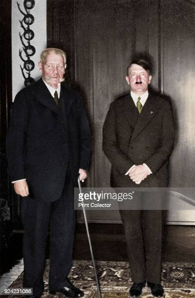 German President Paul von Hindenburg and Chancellor Adolf Hitler c1933c1934 A national hero for his victory over the Russians at Tannenberg early in...