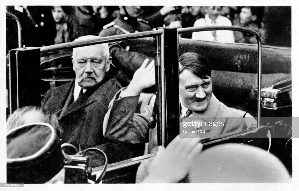 Adolf Hitler and Paul von Hindenberg : News Photo