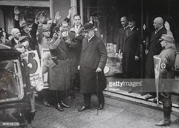 German President Paul von Hindenburg leaves the poll site in Berlin Kanonierstrasse in the Reichstag elections of 1933 5th March of 1933 Photograph