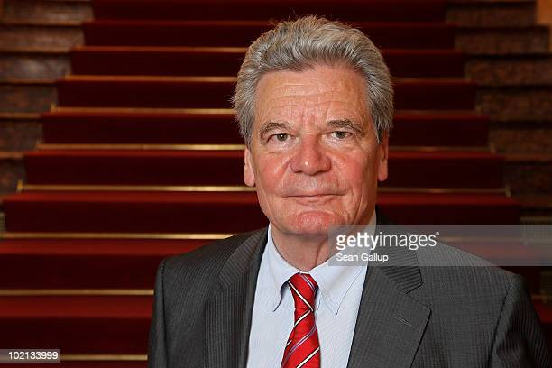 German presidential candidate Joachim Gauck poses briefly for a portrait after speaking to foreign journalists on June 16 2010 in Berlin Germany...