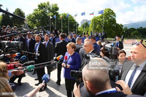 German Prime Minister Angela Merkel answers the questions of press members ahead of EUWestern Balkans Summit in Sofia Bulgaria on May 17 2018