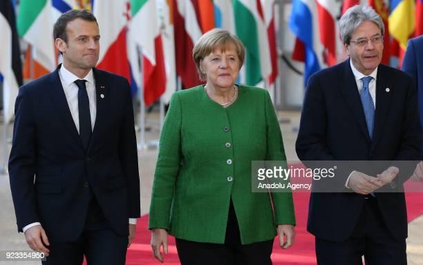 German Prime Minister Angela Merkel French President Emmanuel Macron and Italian Prime Minister Paolo Gentiloni attend the EU members' informal...