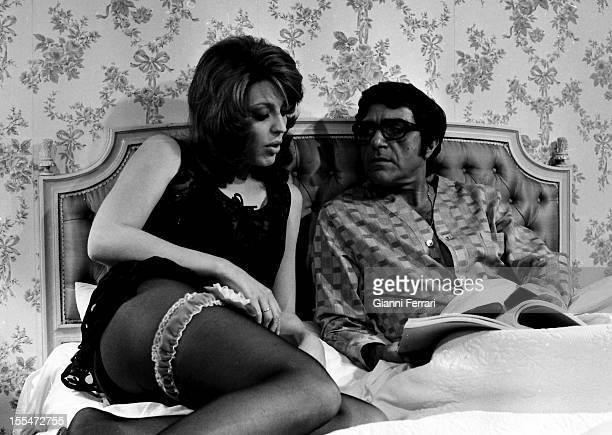 German princess and actress Ira Von Furstenberg during the filming of the movie 'Not covet your neighbor's wife' with Italian actor Aldo Giuffre...