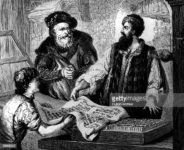 German printing pioneer Johannes Gutenberg with his partner Johann Fust a merchant with the first proof from moveable types on the press they set up...