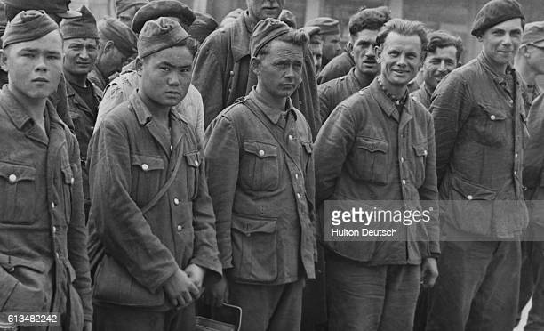 German Prisoners Arrive In Britain Streaming into Britain today in overwhelming numbers come these men of Hitler's vanquished Wehrmacht Captured in...
